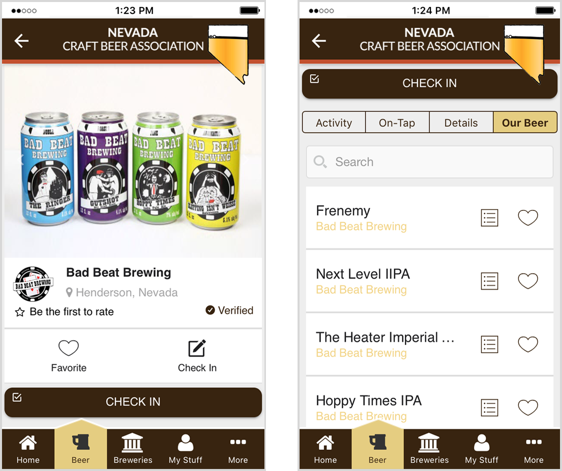 Beers Directory in Brewers Marketing NV app