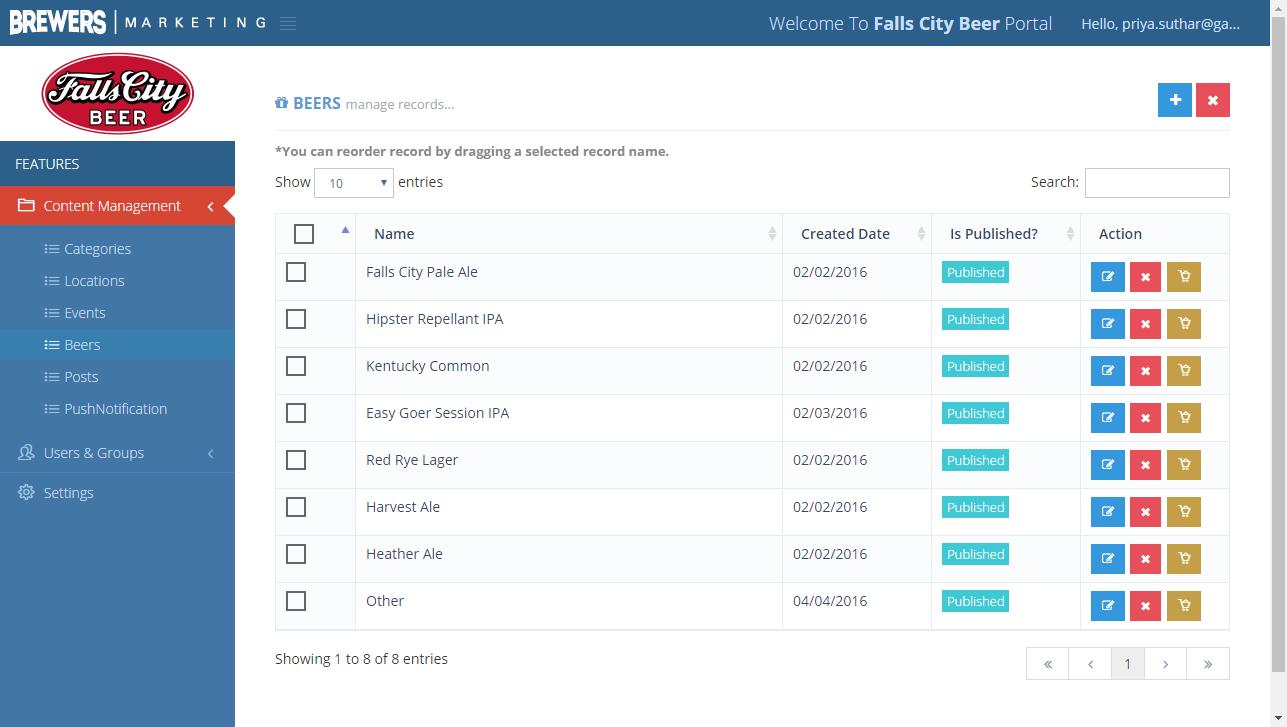 Screenshot of the BM Brewer Portal