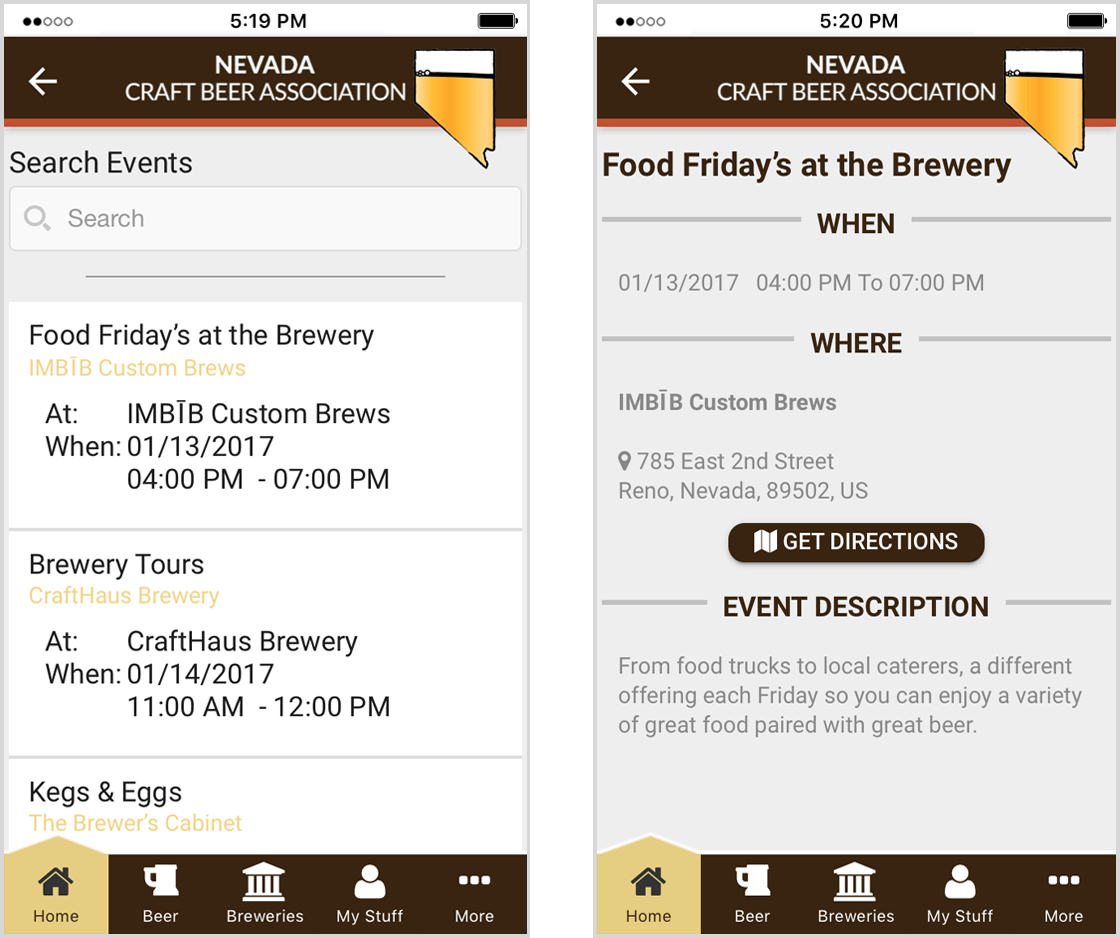 News and Events list in Brewers Marketing app