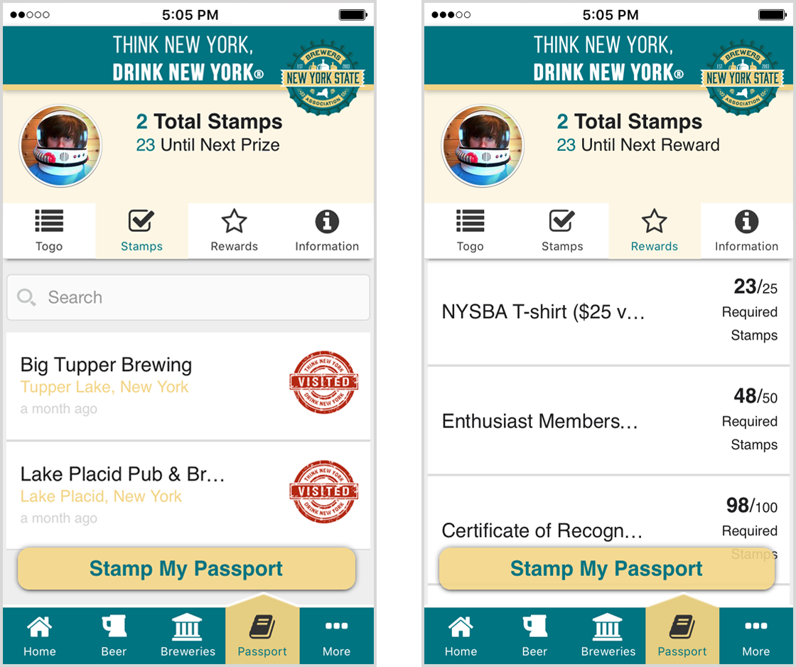 Passport Program section Brewers Marketing NY app