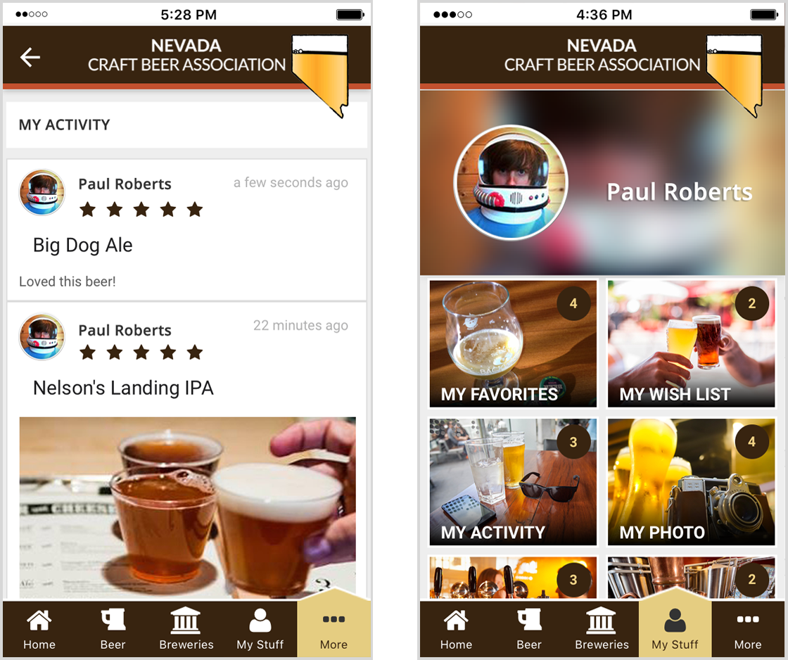 Brewers Marketing Profile in NV app