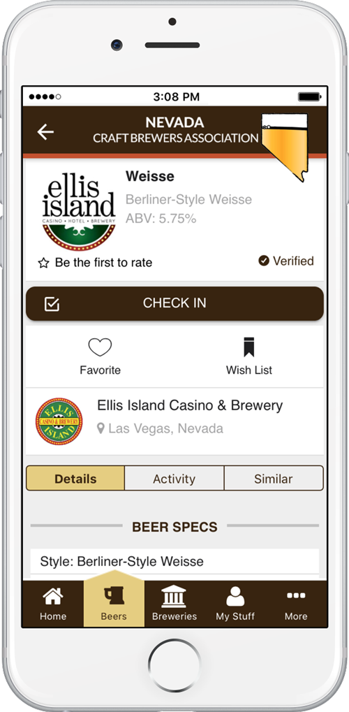 Ellis Island beer displayed in the Nevada craft beer app