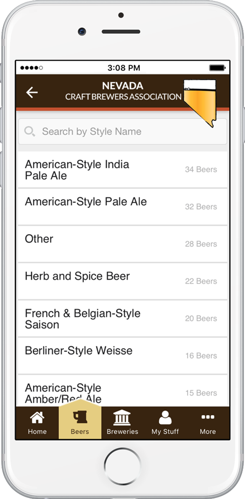 Nevada craft beers displayed by style in the app