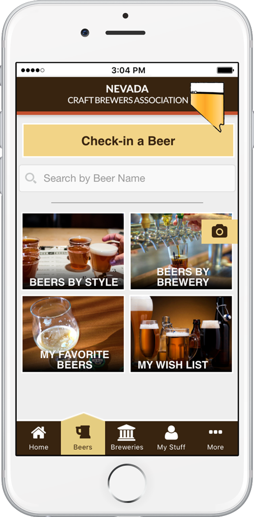 Nevada Craft beer app beers screen