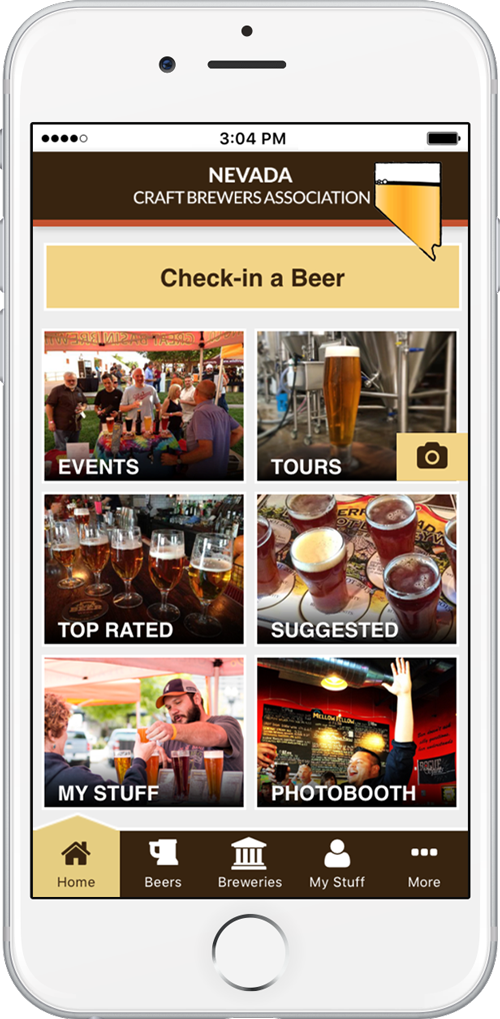 Nevada Craft Brewers Association app home