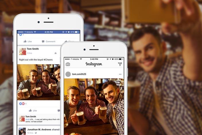 Guys posting beer selfies to Instagram and Facebook